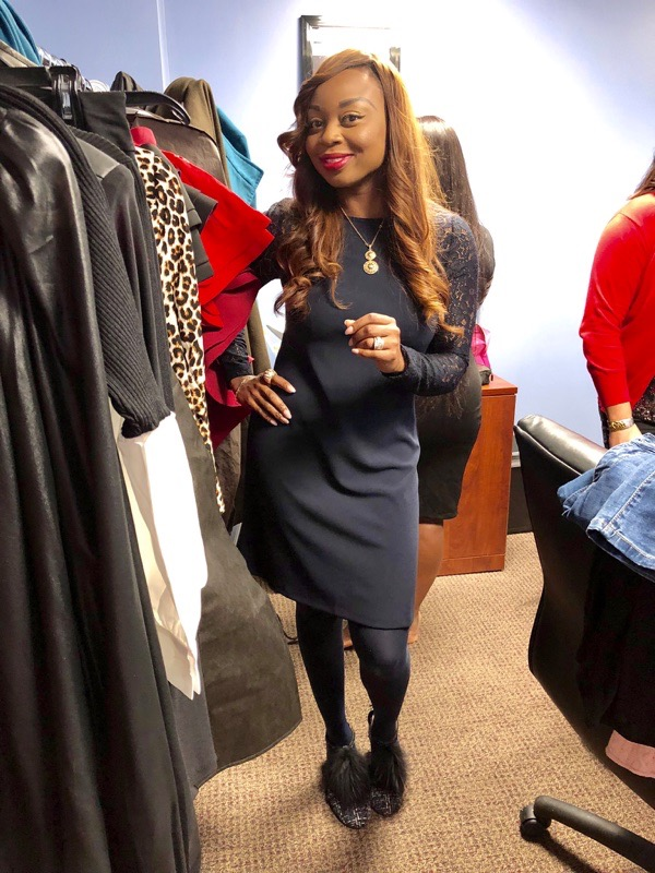 Holiday work look: Navy dress with lace sleeves