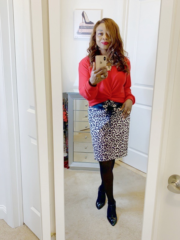 tokestakeonstyle-day-to-night-office-holiday-party-looks-red-sweater-aanimal-print-skirt