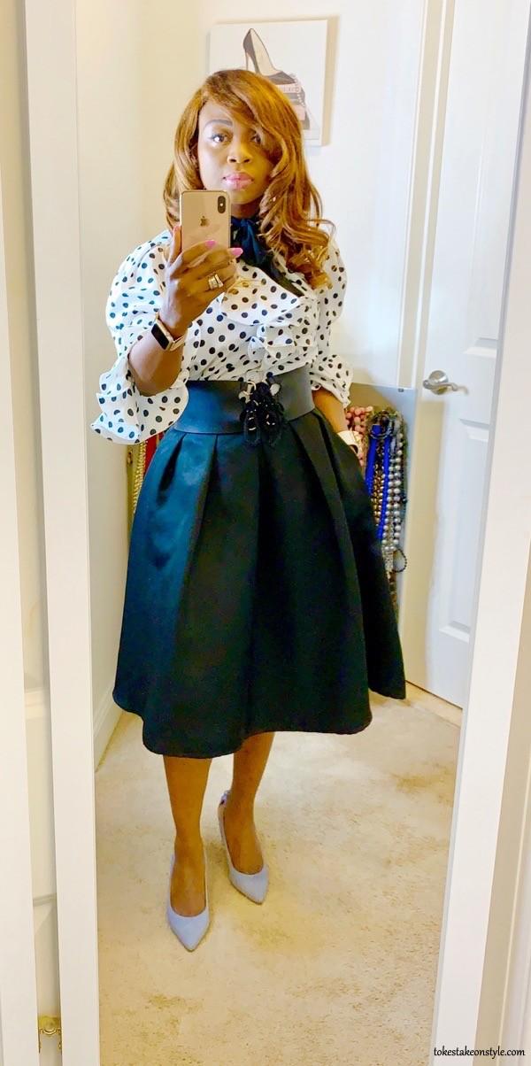tokestakeonstyle-polka-dot-ruffle-top-black-flared-skirt-office-look-tokes-ojo-ade