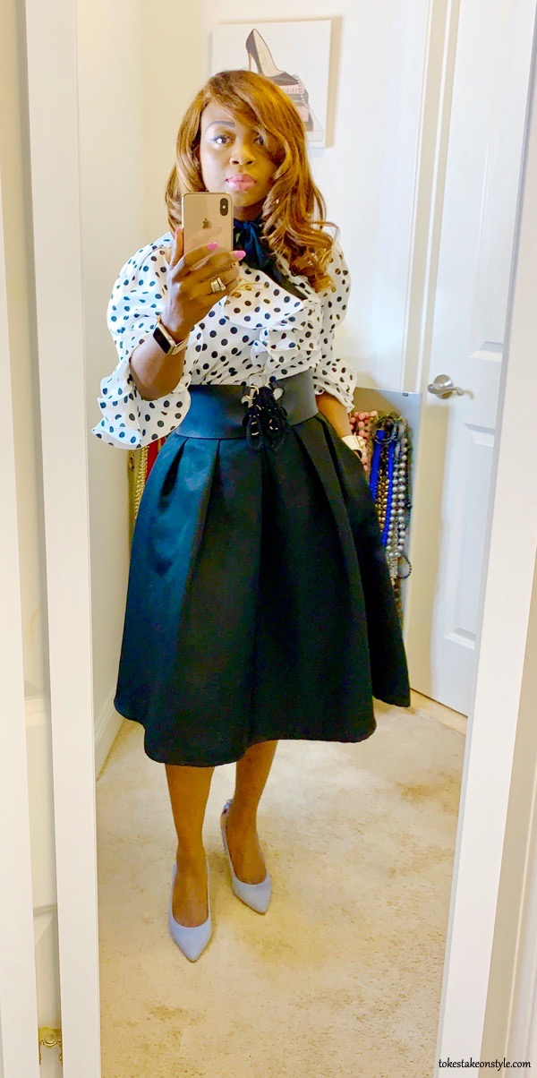 tokestakeonstyle-polka-dot-ruffle-top-black-flared-skirt-office-look-tokes-ojo-ade