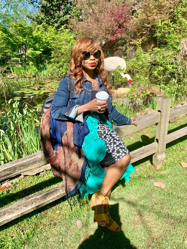 transition-your-summer-wardrobe-to-fall-woman-denim-jacket-dress