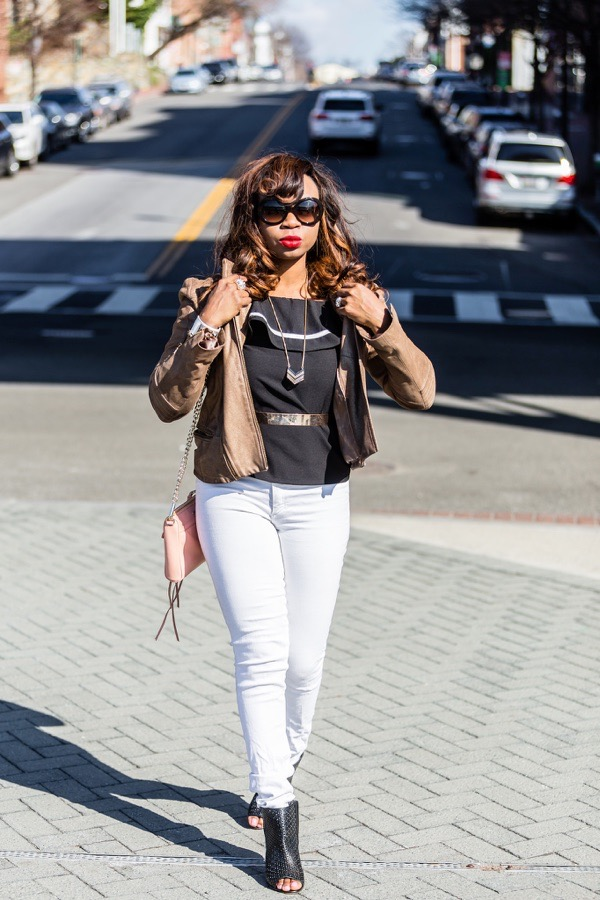 transition-your-summer-wardrobe-to-fall-woman-metallic-leather-jacket-white-jeans