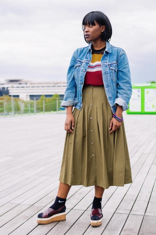 transition-your-summer-wardrobe-to-fall-woman-denim-jacket-skirt