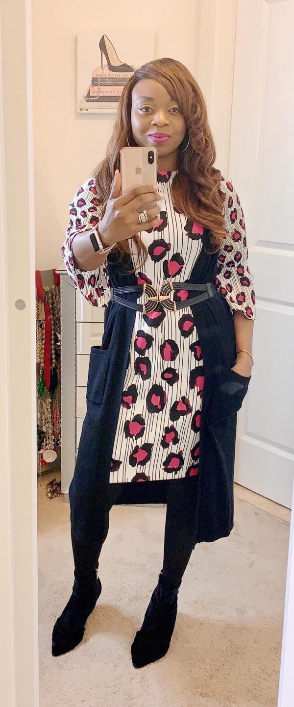 transition-summer-wardrobe-to-fall-black-duster-leopard-print-dress