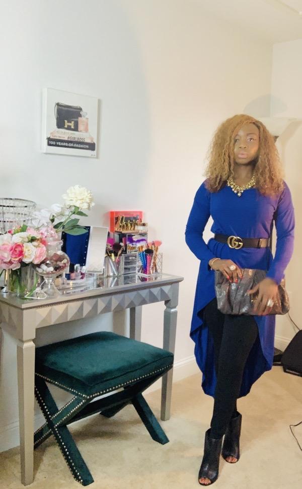 lovely wholesale review blue asymmetrical top black Gucci belt