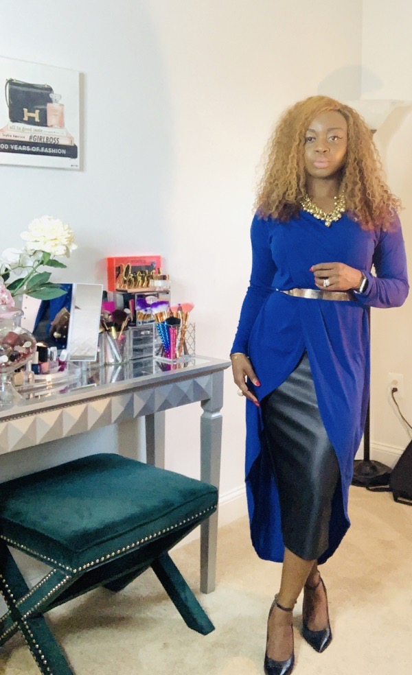 lovely wholesale blue asymmetrical top and black leather pencil skirt