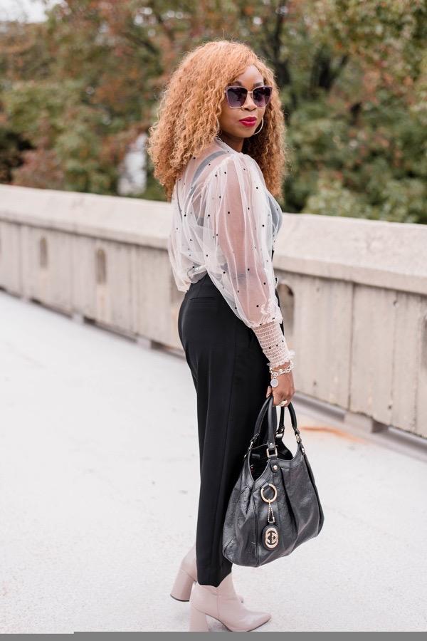 sheer long sleeve Zara top