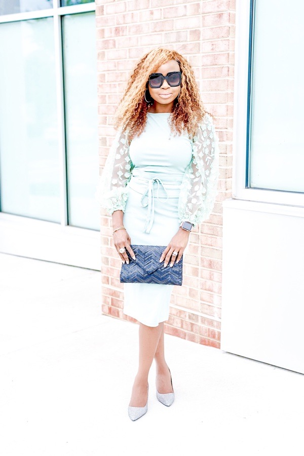 how-to-wear-puff-sleeves-mint-green-shein-dress-tokestakeonstyle