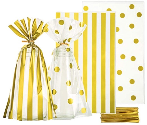 gold-silver-party-decoration-ideas-gold-dot-gold-stripe-party-favor-bags