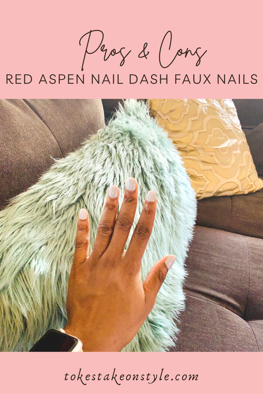 black woman's hands showing red aspen nail dash press on nails in a grey manicure