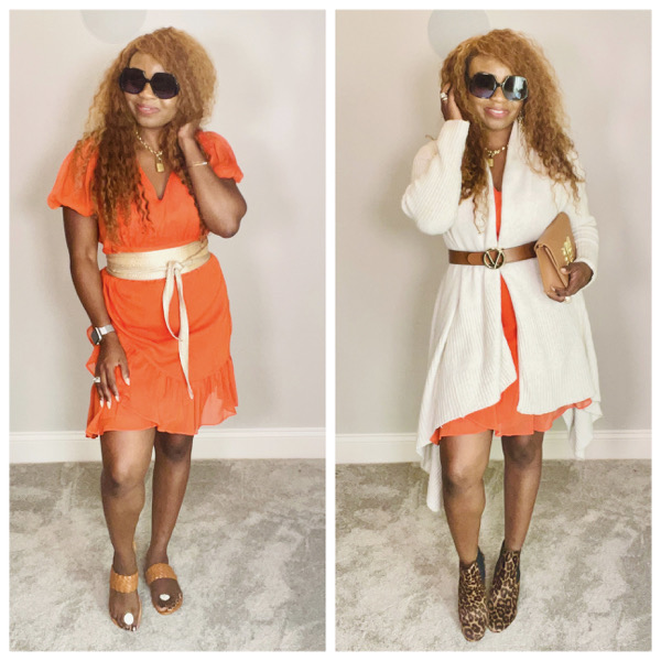 Summer-to-Fall-transition-outfit-orange-mini-dress