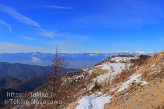 雪の美ヶ原高原から見る北アルプス南部