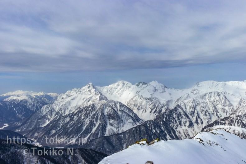 常念岳山頂から見た穂高連峰