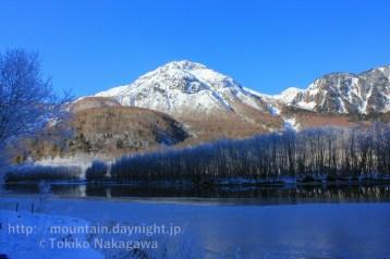 冬の上高地・大正池の霧氷と焼岳