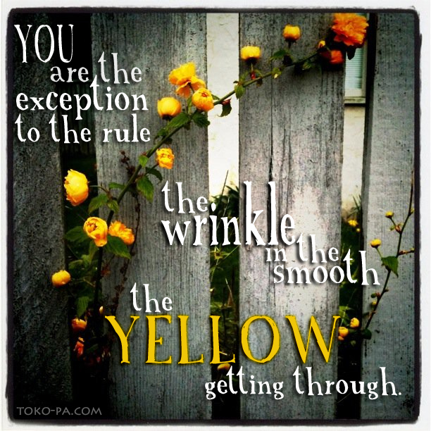 You are the exception to the rule, the wrinkle in the smooth, the yellow getting through.