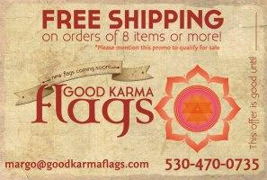 A lovely new logo and promo postcard for the Good Karma prayer flag company.