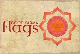 A harmonious logo for the Good Karma prayer flag company.