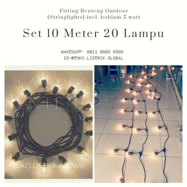 Lampu renteng outdoor untuk cafe / stringlights 10 meter toko listrik global