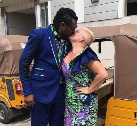 Convoy of 20 Keke Napeps takes Nigerian man and his white fiancee to wedding reception (Photos)