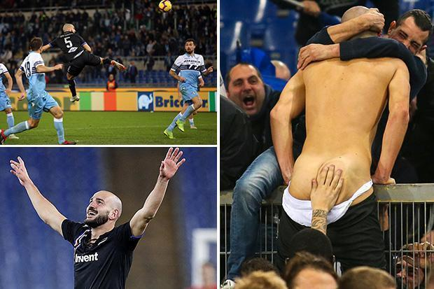 Sampdoria player has clothes ripped off by fans after 99th-minute equaliser