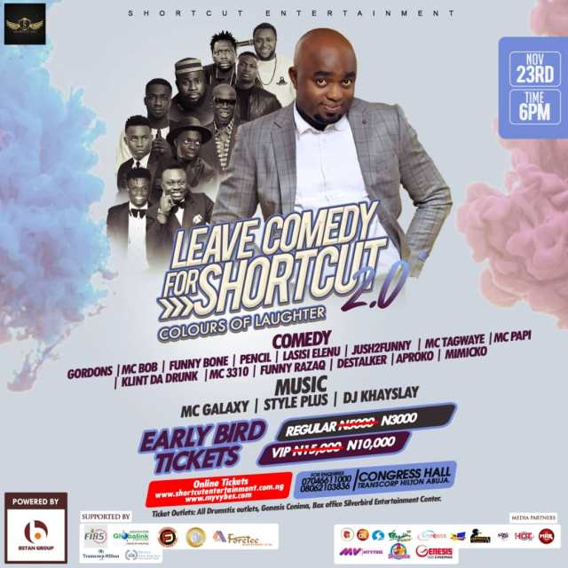 Leave Comedy for Shortcut 2.0 official flier