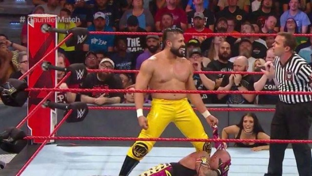 Rey Mysterio was de-masked by Andrade during their RAW gauntlet match