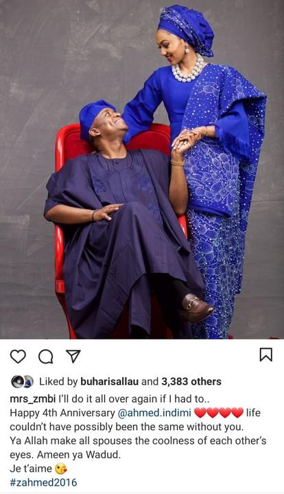 Buhari's Daughter Zara and Husband Celebrate 4th Wedding Anniversary