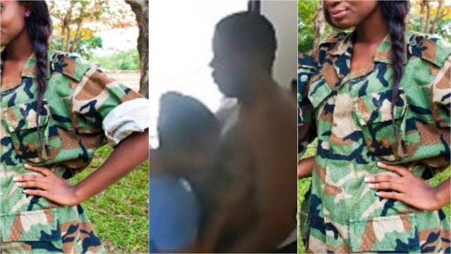 At0pa Video of Ghanaian Female Soldier Ch£w!ng Her Boyfriend Hits Social Media