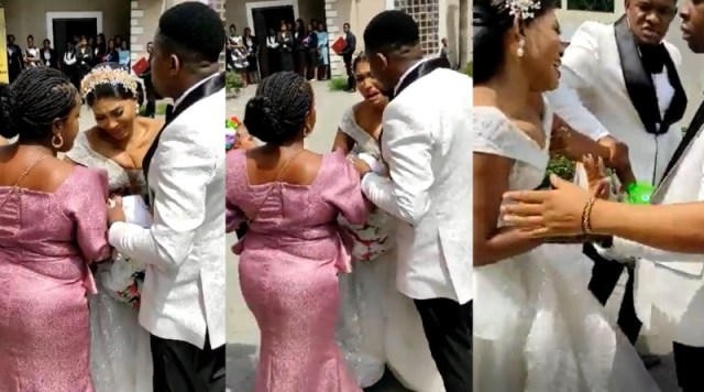Drama As Nigerian Pastor Refuses to Wed Couple Because They Were 5 Minutes (VIDEO)