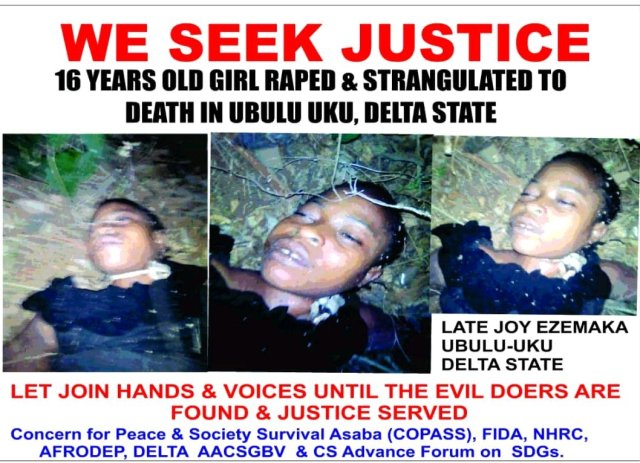 HORRIFIC!!! 16-Year-Old Girl Raped and Strangled To Death In Delta (GRAPHIC)