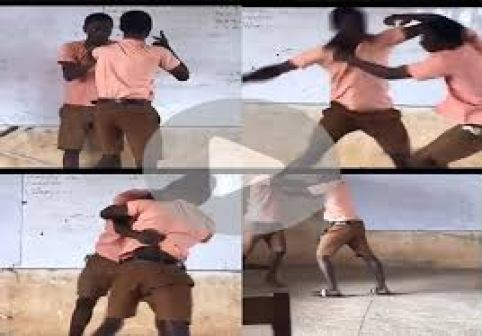 DRAMA As Two SHS Students Are Caught on Camera Fighting Over a Girl in Class (WATCH VIDEO)