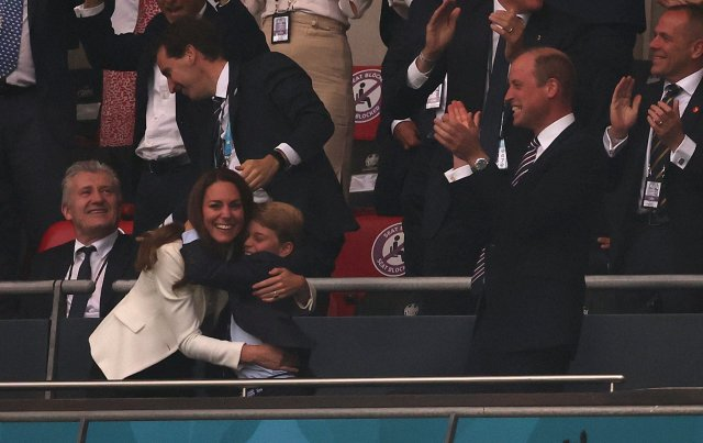 Sweet new footage emerges of 'protective' Kate Middleton putting her arm around Prince George at Euros 2020 final