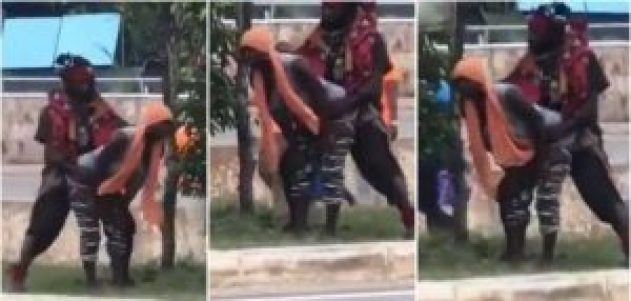 YAWA: Another Slay Queen Allows Mad Man 'Ch£w Her' By The Roadside for Small Money (VIDEO)