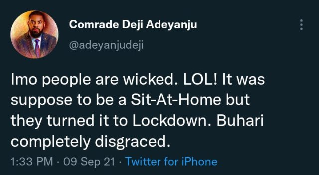 """""""IMO PEOPLE ARE WICKED, It Was Suppose To Be A Sit- At- Home But They Turned It To Lockdown""""- Deji Adeyanju"""