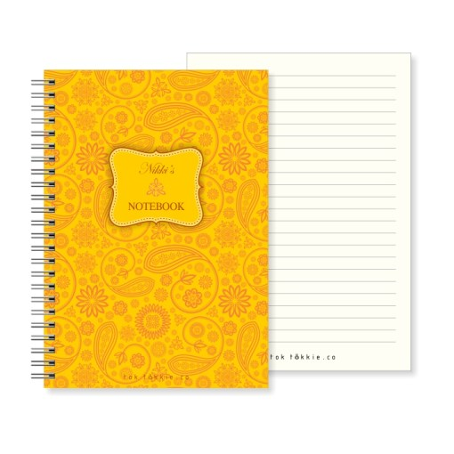 Tok tokkie Notebook – A5 Floral Paisley Yellow
