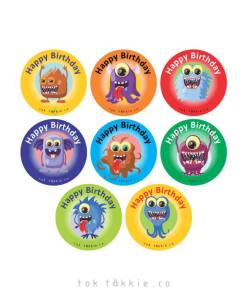 tok tokkie Teachers Reward Labels – MONSTERS – HAPPY BIRTHDAY