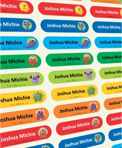 Labels for school can be in Blue Green or pink. Order a complete set with multi colours. This image was taken by Tok Tokkie in Johannesburg South Africa