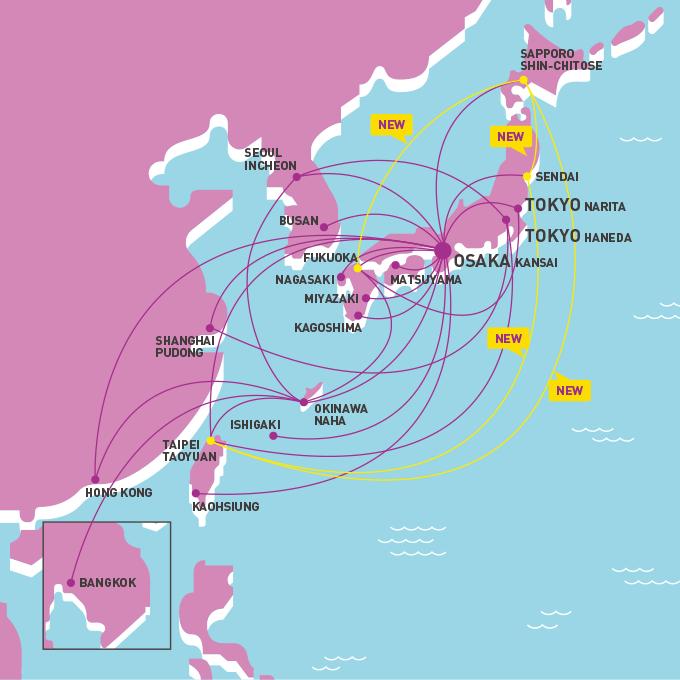 ピーチ航空の安全性@路線図