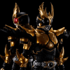 Two S.H. Figuarts Kamen Rider Kuuga Rising Ultimate Form figures standing back to back. One with red eyes and one with black eyes