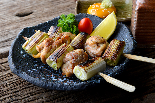Nekima yakitori or Japanese chicken and onion grill.
