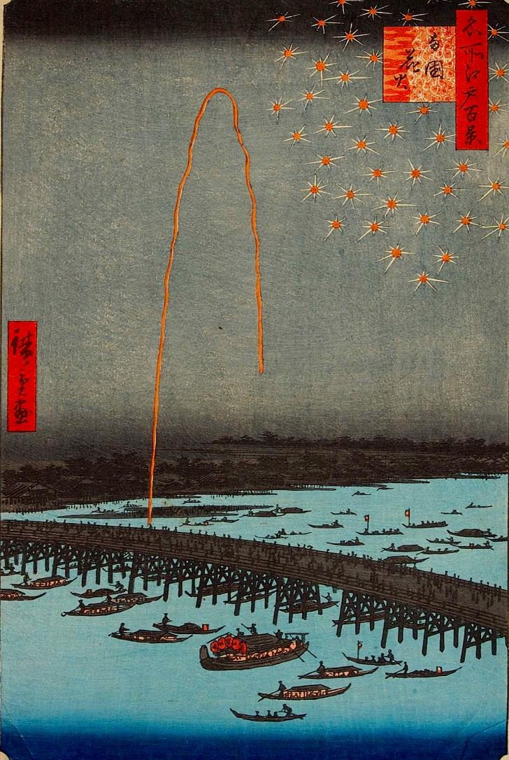 歌川広重の『名所江戸百景』両国花火/安政5年(1858年)刊