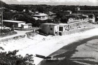 海岸際に建つ中央の建物が昭和47年頃の発電所(茶花公会堂より臨む)