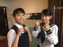 空手演武のお嬢さん、小林鈴奈、鈴木さあやのお二人。
