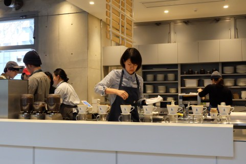 Barista Preparing a Pour Over at Blue Bottle Coffee Aoyama Tokyo Japan