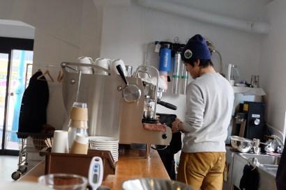 Synesso Hydra Espresso Machine and Barista at 4/4 (All) Seasons Coffee Shinjuku Tokyo Japan