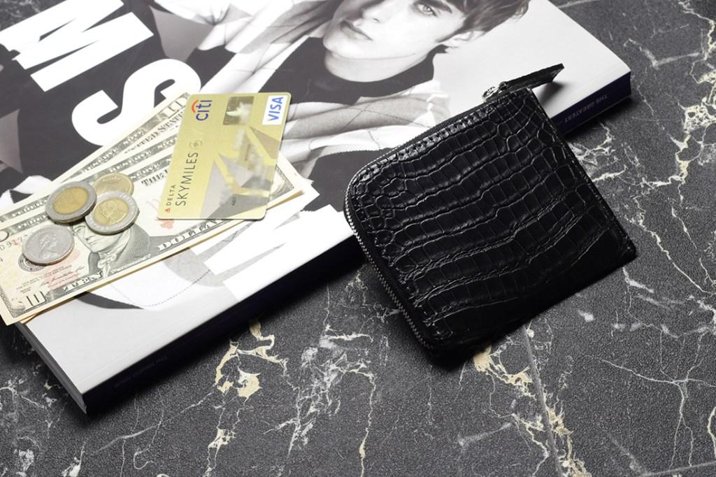 スモールクロコダイルマットL字ラウンドミニ財布