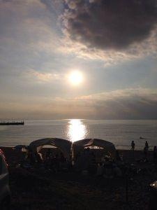 秋谷漁港の夕日