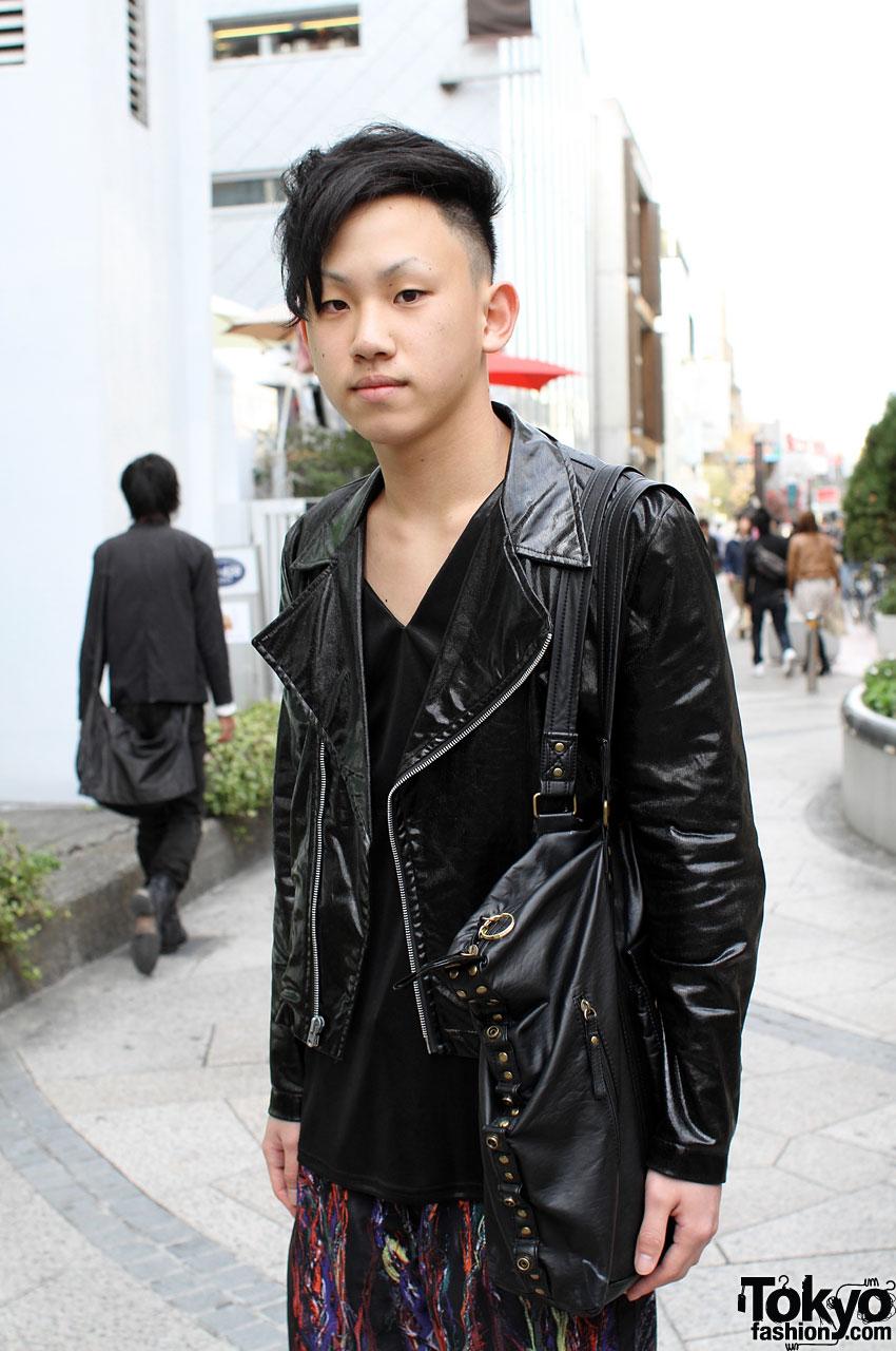 Cool Japanese Guy in Motorcycle Jacket  Leggings