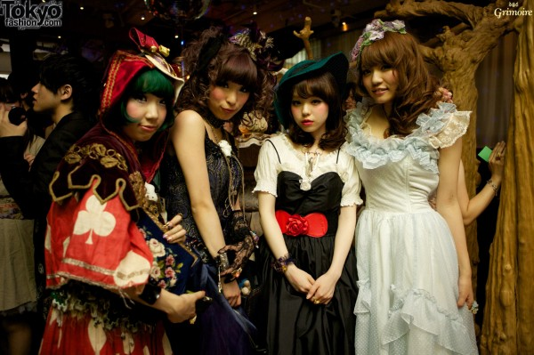 Heri, Saki, and friends at the Grimoire party.