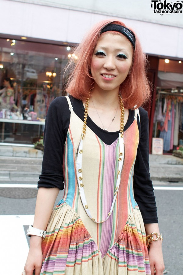 Banal Chic Bizarre striped dress and zipper necklace
